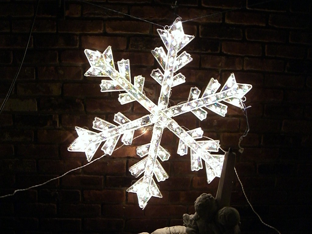 Decorate safely this holiday season. Electric snowflake decoration.
